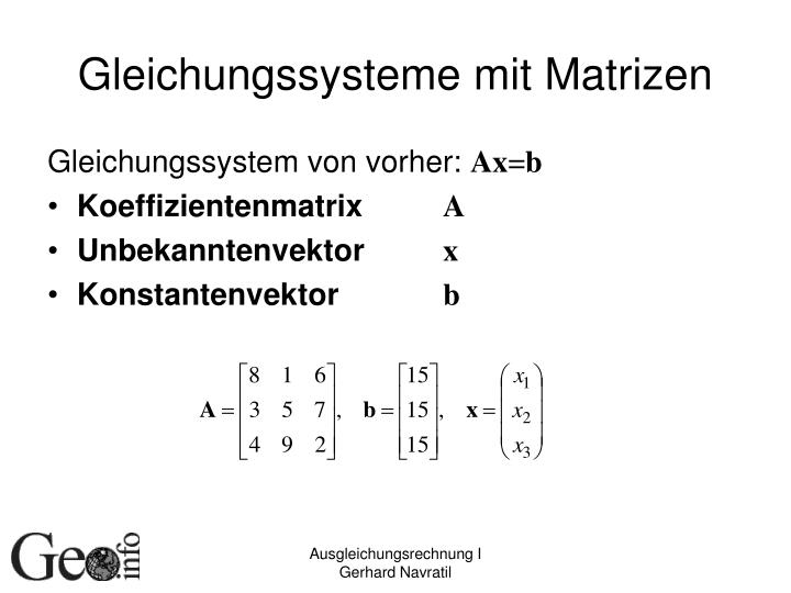 Gleichungssysteme mit Matrizen
