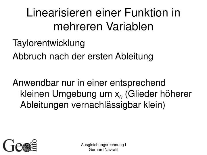 Linearisieren einer Funktion in mehreren Variablen