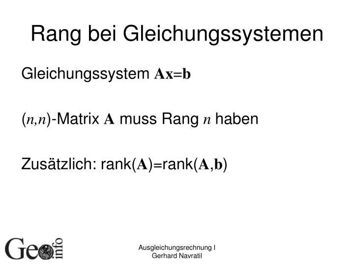 Rang bei Gleichungssystemen