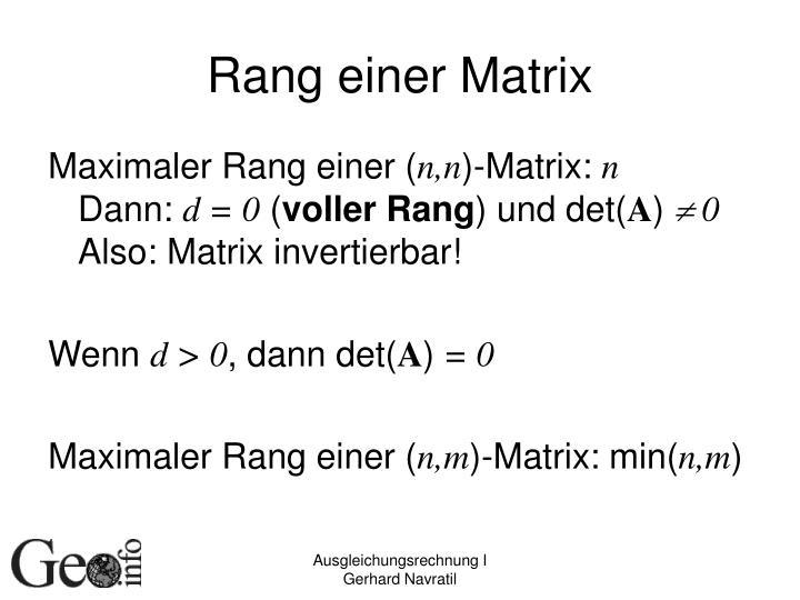 Rang einer Matrix