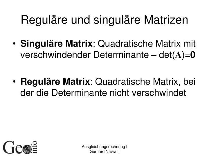 Reguläre und singuläre Matrizen