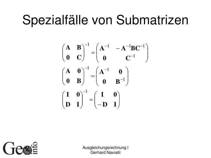 Spezialfälle von Submatrizen