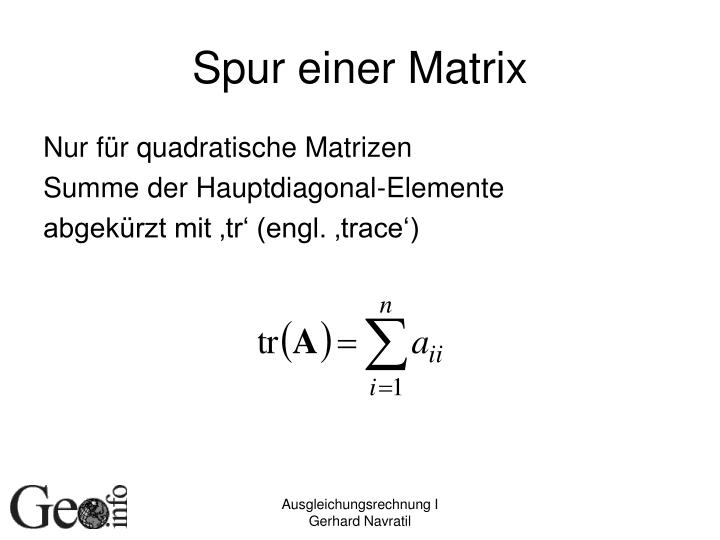 Spur einer Matrix