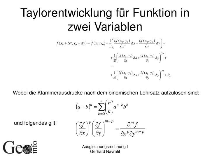 Taylorentwicklung für Funktion in zwei Variablen