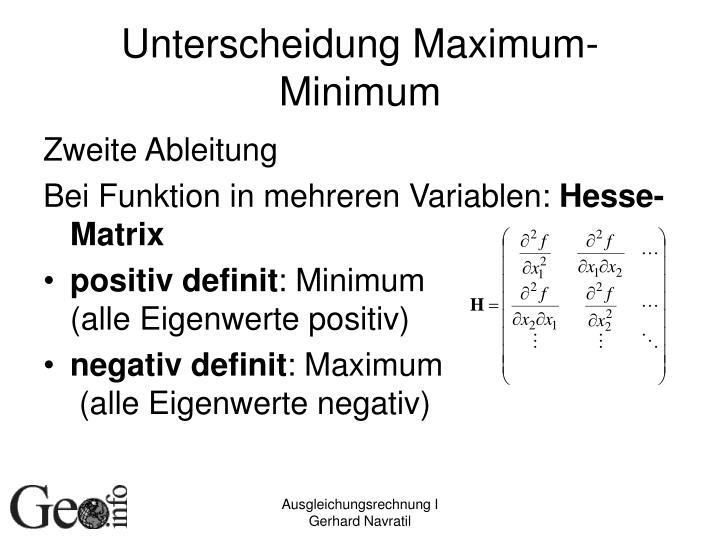 Unterscheidung Maximum-Minimum