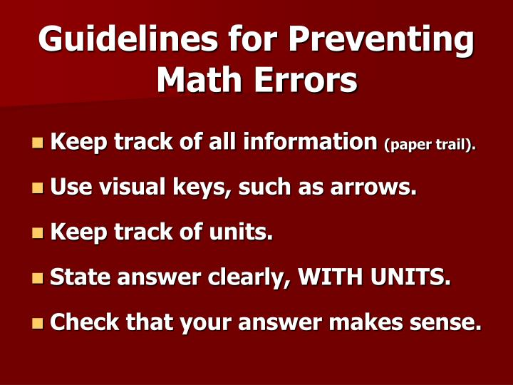 Guidelines for Preventing Math Errors