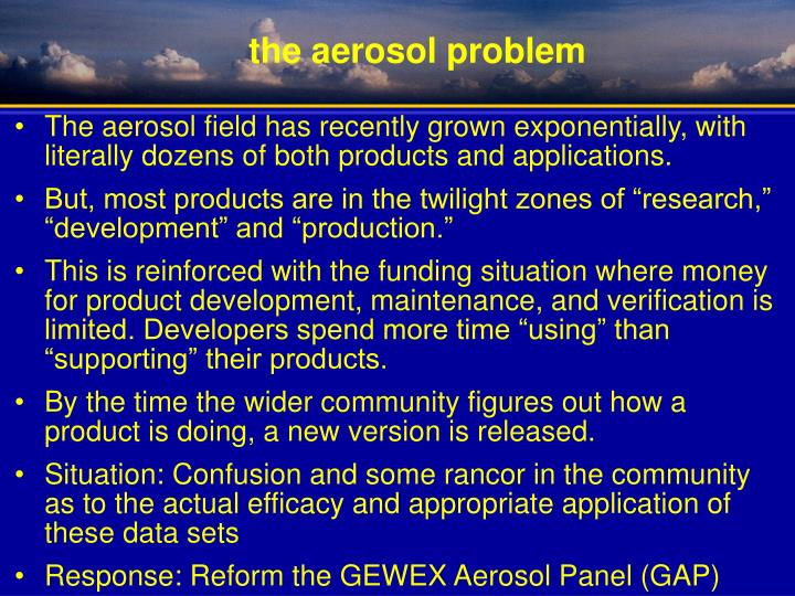 The aerosol field has recently grown exponentially, with literally dozens of both products and applications.