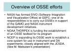 overview of osse efforts