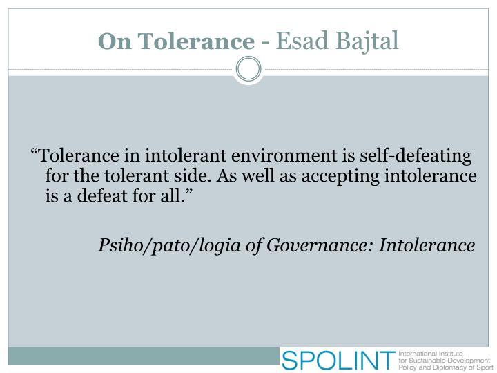 On Tolerance -
