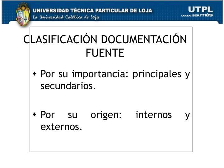 CLASIFICACIÓN DOCUMENTACIÓN FUENTE