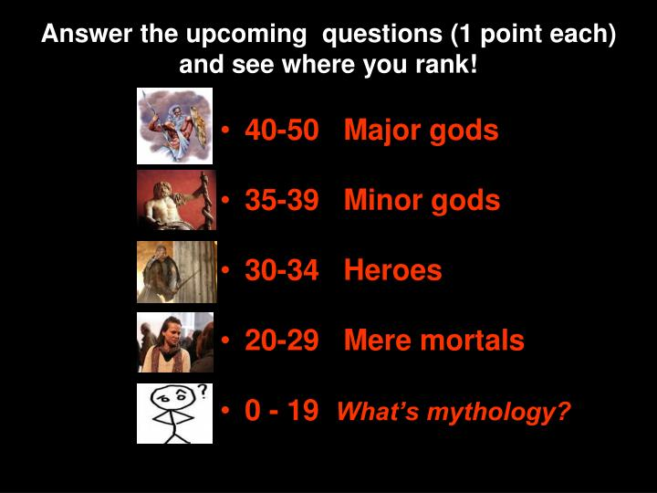 Answer the upcoming questions 1 point each and see where you rank