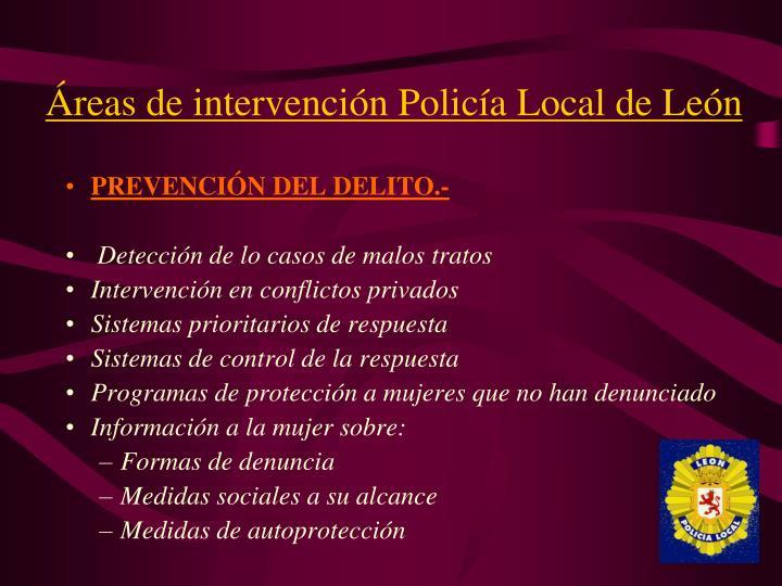 Áreas de intervención Policía Local de León