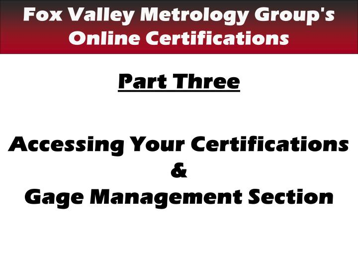 Fox Valley Metrology Group's