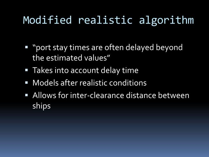 Modified realistic algorithm