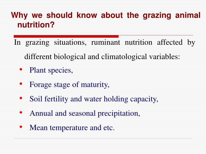 Why we should know about the grazing animal nutrition?