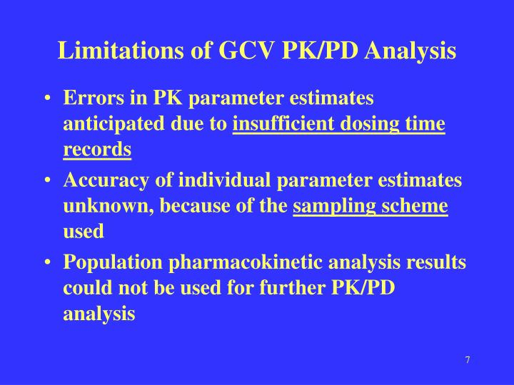 Limitations of GCV PK/PD Analysis