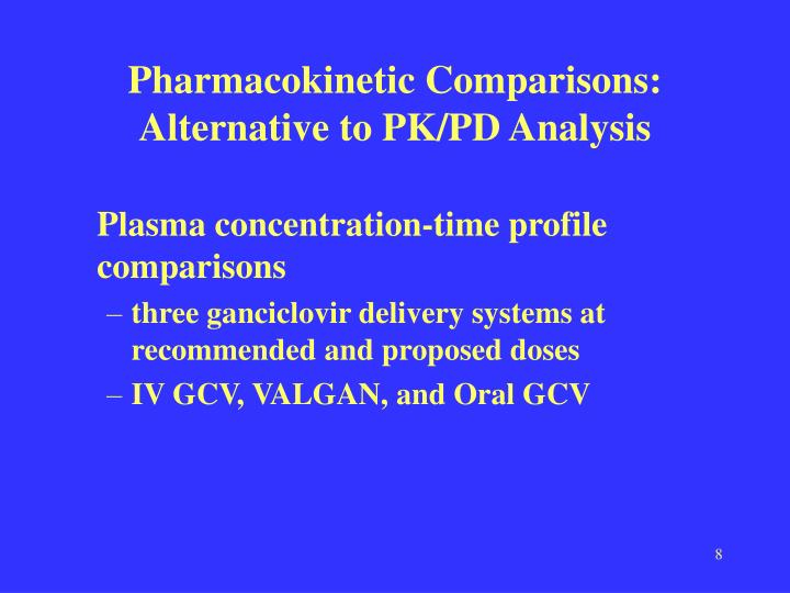 Pharmacokinetic Comparisons: Alternative to PK/PD Analysis