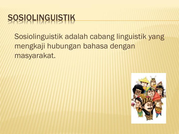 Sosiolinguistik adalah cabang linguistik yang mengkaji hubungan bahasa dengan  masyarakat.