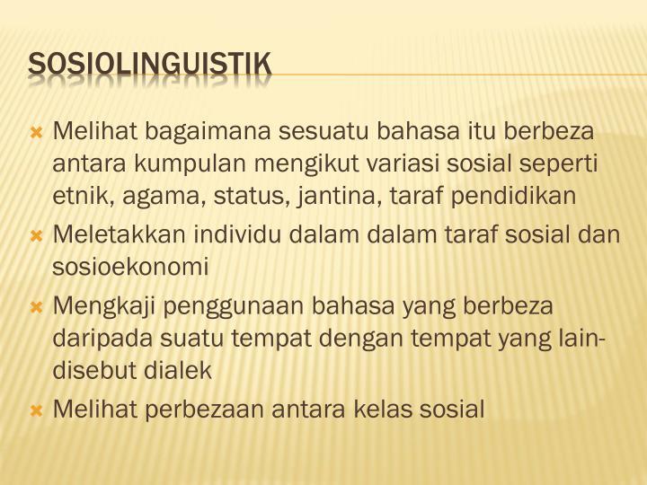Melihat bagaimana sesuatu bahasa itu berbeza antara kumpulan mengikut variasi sosial seperti etnik, agama, status, jantina, taraf pendidikan