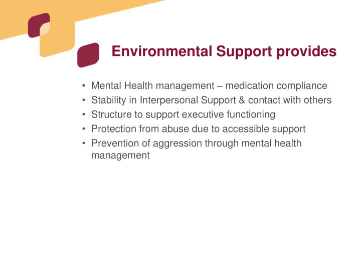 Environmental Support provides