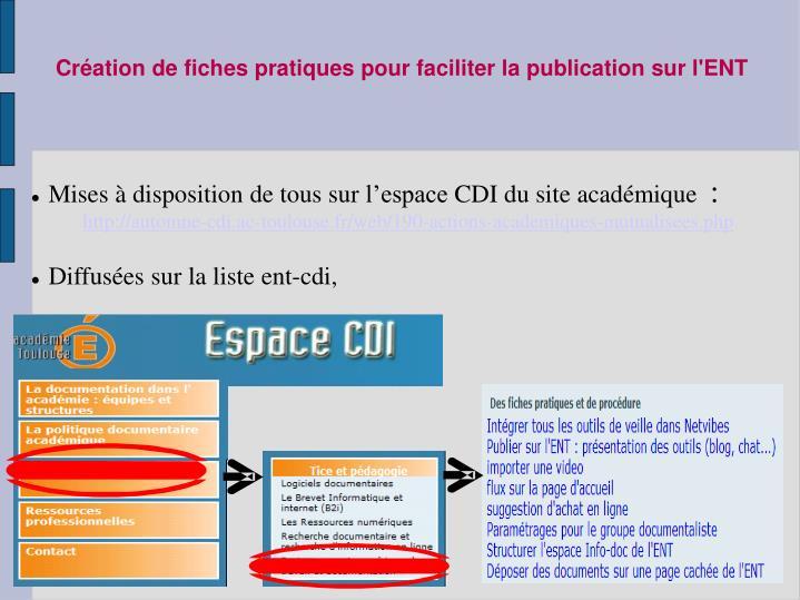 Mises à disposition de tous sur l'espace CDI du site académique