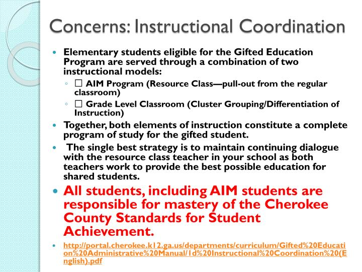 Concerns: Instructional Coordination