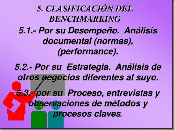 5. CLASIFICACIÓN DEL BENCHMARKING