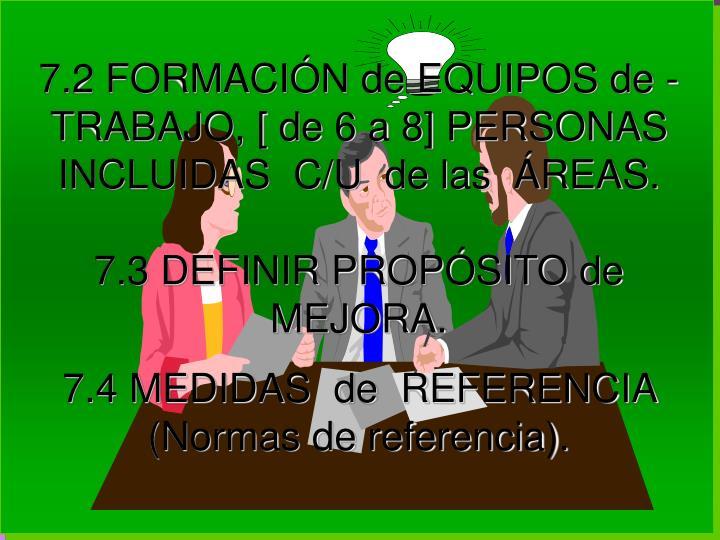 7.2 FORMACIÓN de EQUIPOS de - TRABAJO, [ de 6 a 8] PERSONAS INCLUIDAS  C/U  de las  ÁREAS.