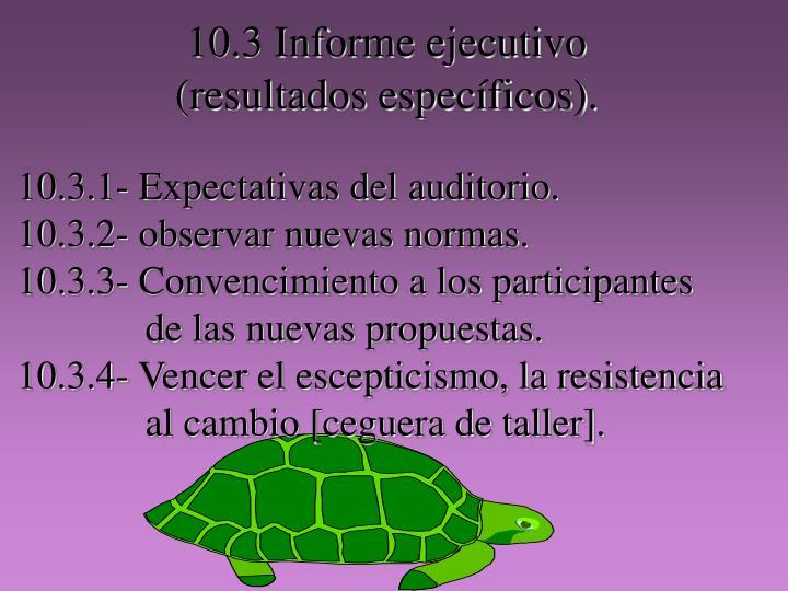 10.3 Informe ejecutivo