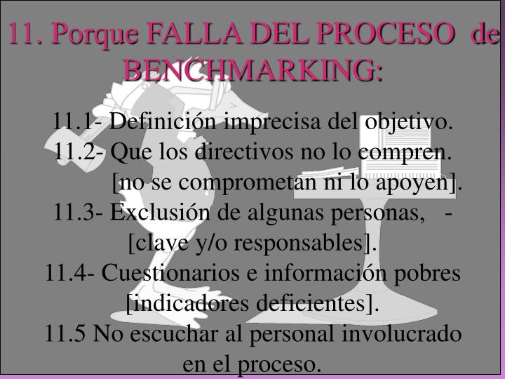 11. Porque FALLA DEL PROCESO  de  BENCHMARKING: