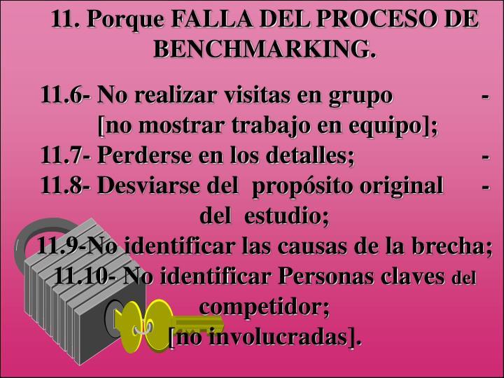 11. Porque FALLA DEL PROCESO DE BENCHMARKING.