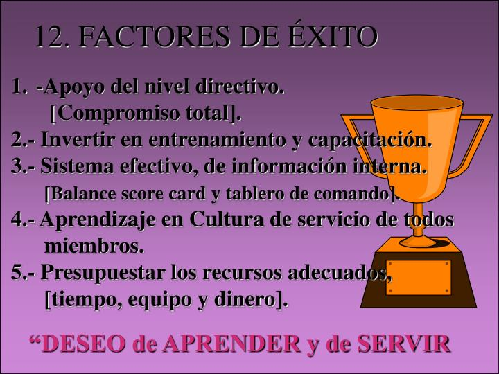 12. FACTORES DE ÉXITO