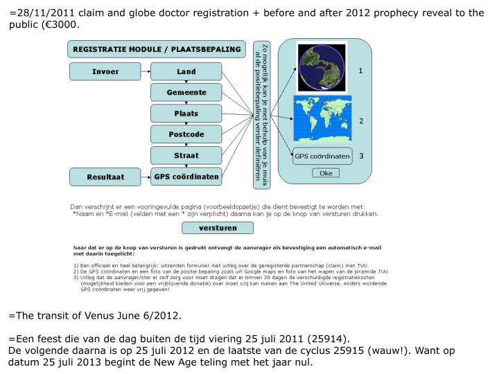 =28/11/2011 claim and globe doctor registration + before and after 2012 prophecy