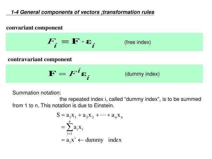 1-4 General components of vectors ;transformation rules