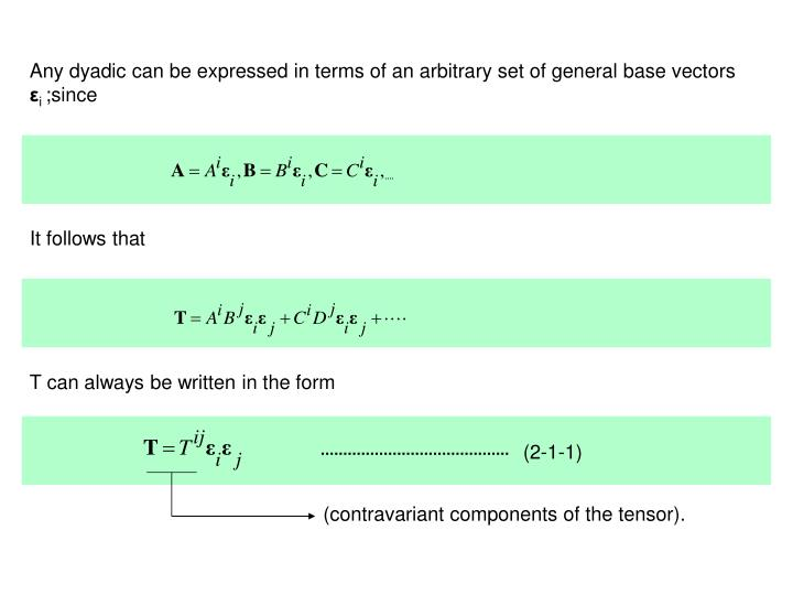 Any dyadic can be expressed in terms of an arbitrary set of general base vectors