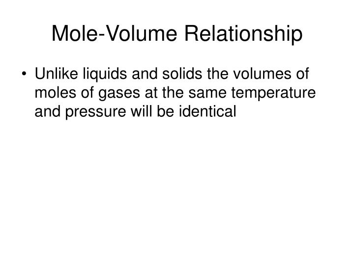 Mole-Volume Relationship