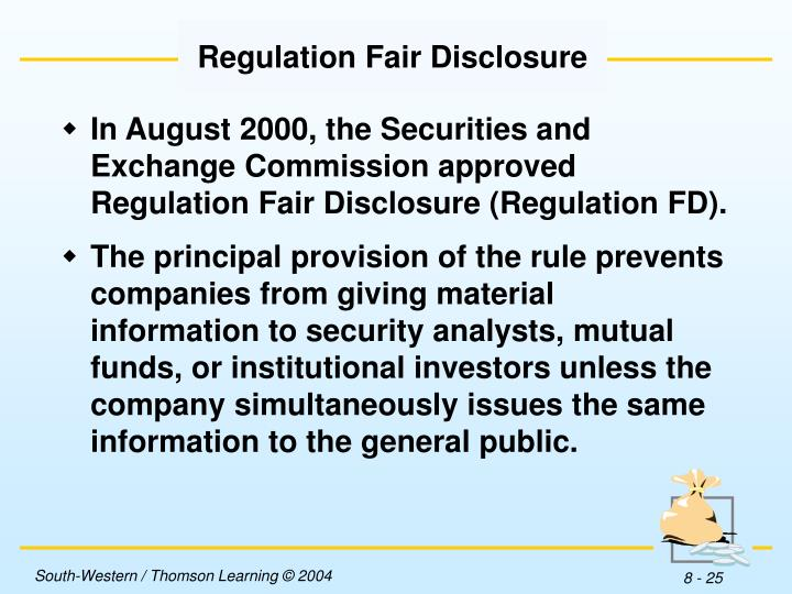 Regulation Fair Disclosure