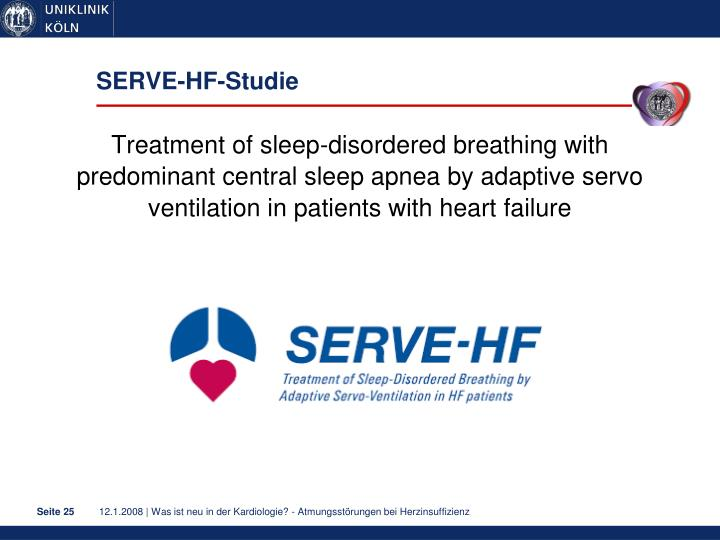 Treatment of sleep-disordered breathing with predominant central sleep apnea by adaptive servo ventilation in patients with heart failure