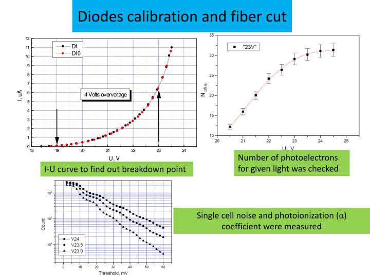 Diodes calibration and fiber cut