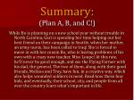 summary plan a b and c