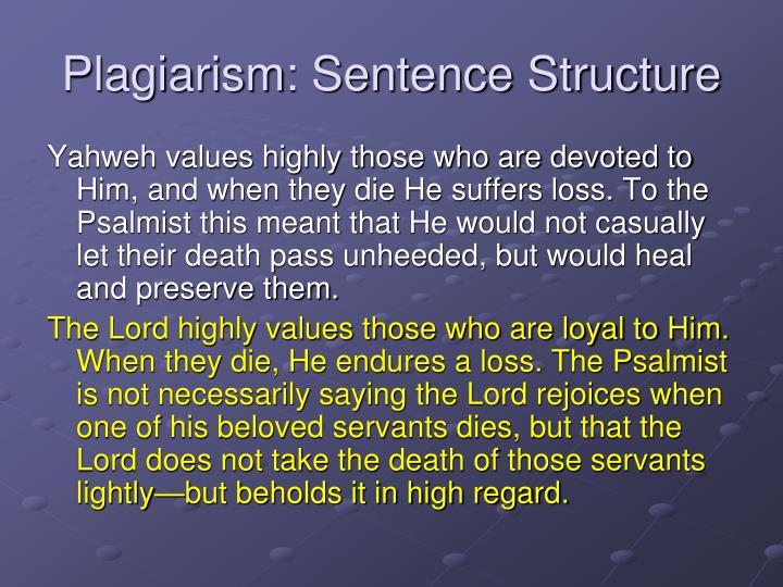 Plagiarism: Sentence Structure
