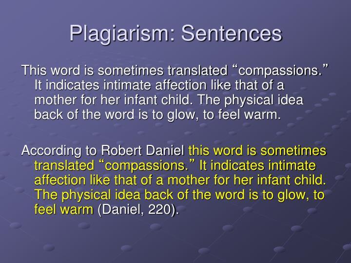 Plagiarism: Sentences
