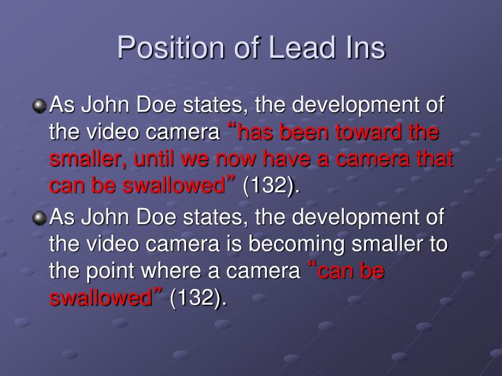Position of Lead Ins