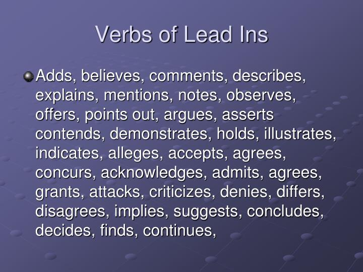 Verbs of Lead Ins