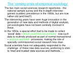 the coming crisis of empirical sociology