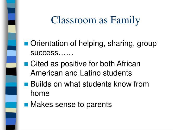 Classroom as Family