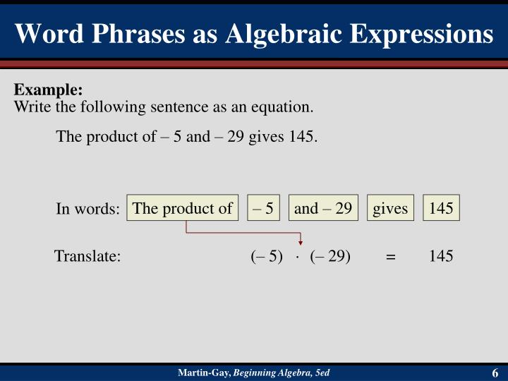 Word Phrases as Algebraic Expressions