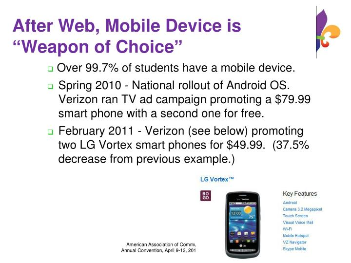 "After Web, Mobile Device is ""Weapon of Choice"""