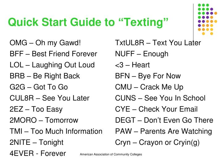 "Quick Start Guide to ""Texting"""