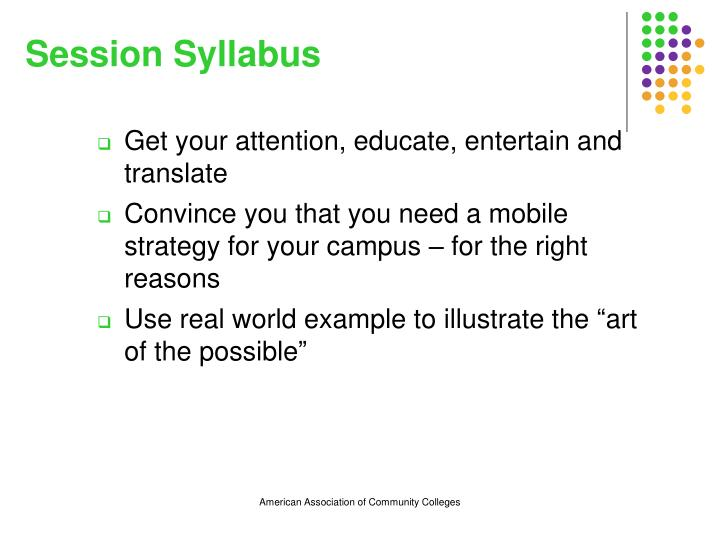 Session syllabus